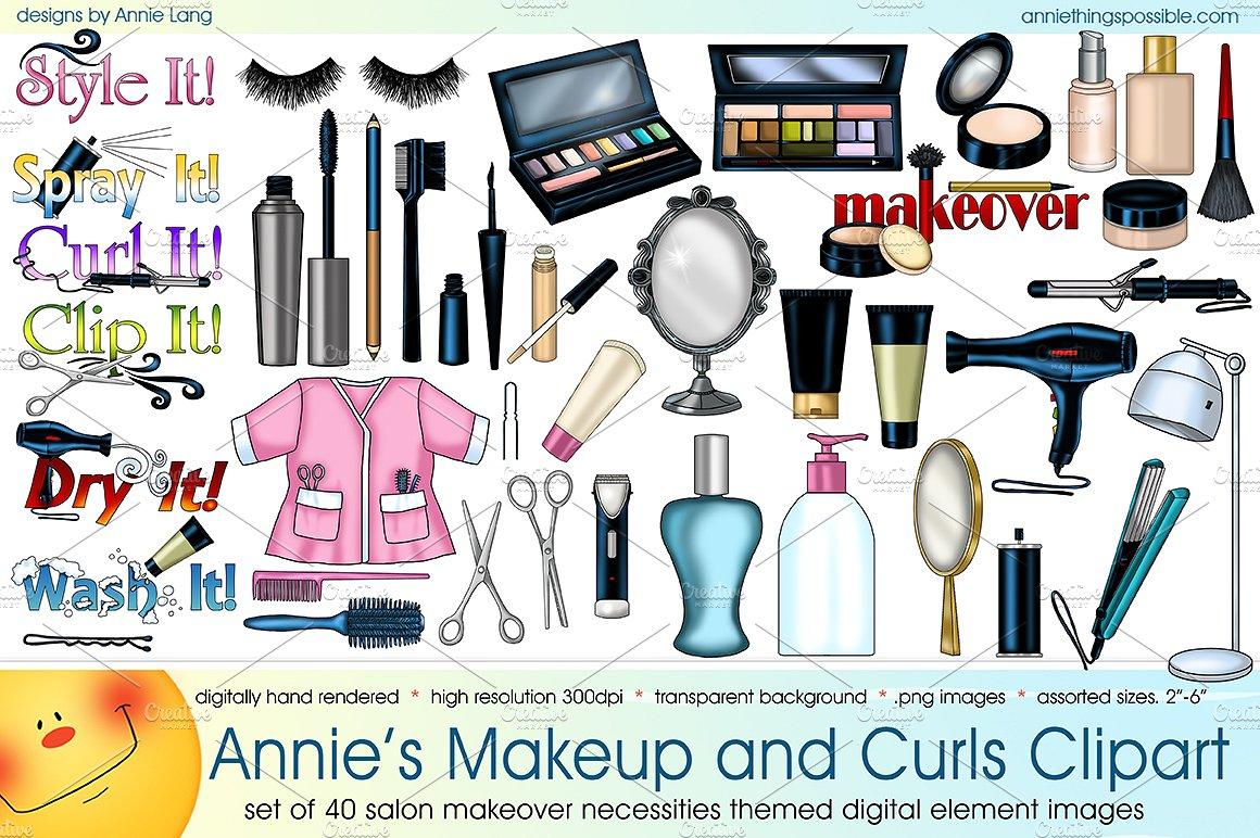 Makeup clipart cover photo  Curls Illustrations Annie's Clipart
