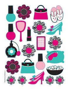 Makeup clipart girly Zebra favors! Pink Print Diva