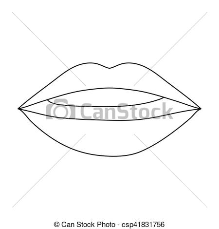 Makeup clipart lip outline Symbol illustration isolated icon style