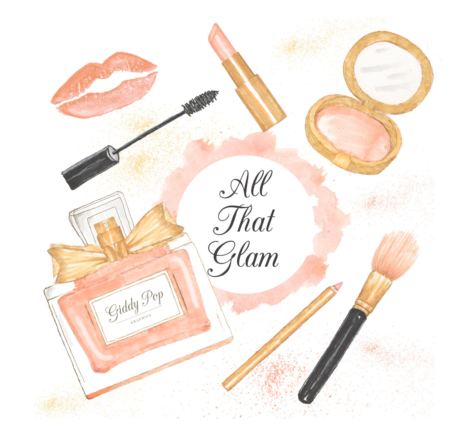 Makeup clipart perfume Handpainted pink clipart Fashion clipart