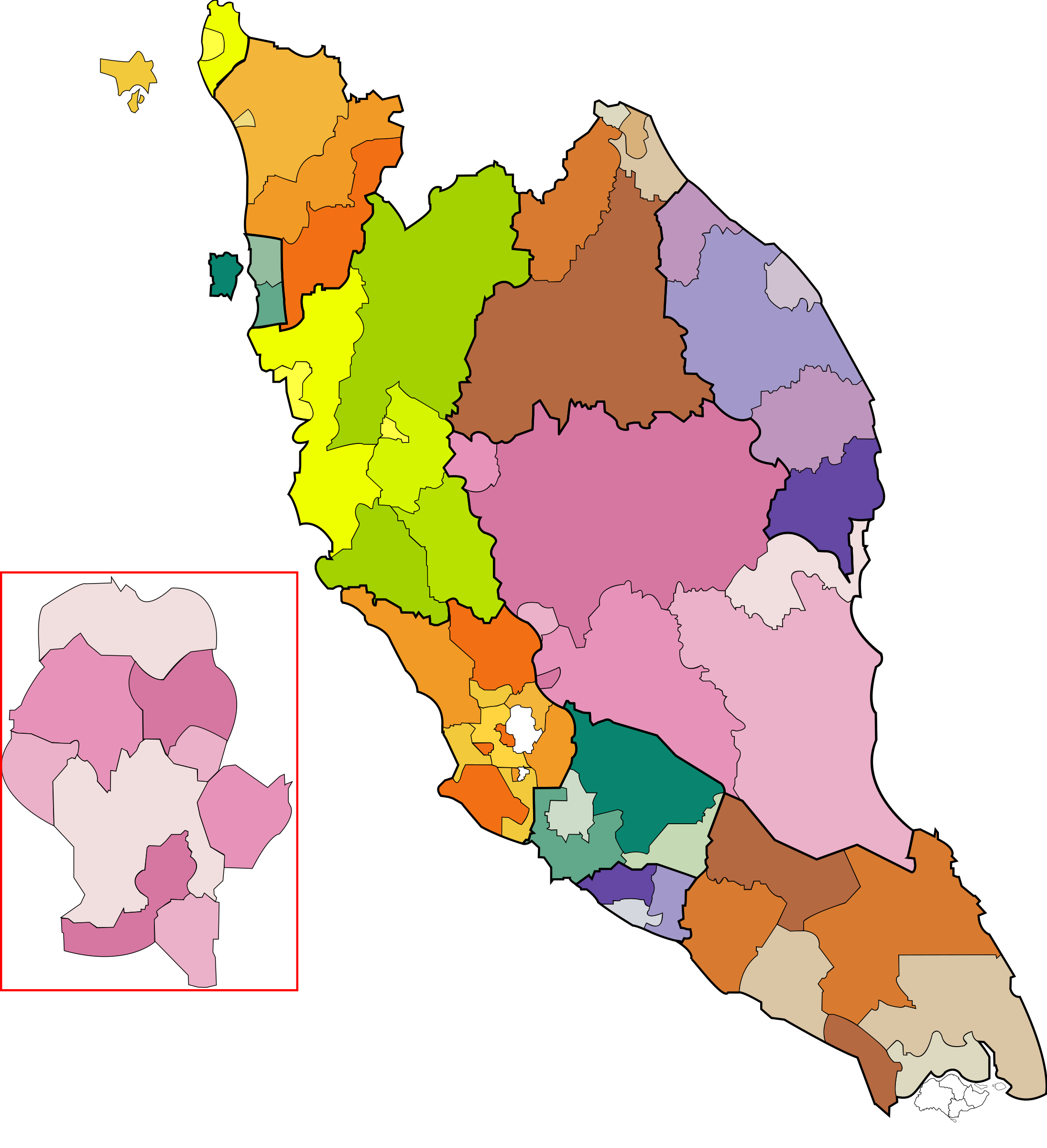 Malaysia clipart Malaysia coloured Peninsular Malaysia map