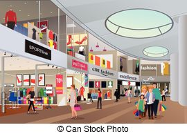 Mall clipart shop Mall a Illustrations Stock people