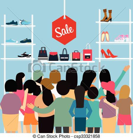 Mall clipart cartoon Crowded sale mall store Vector