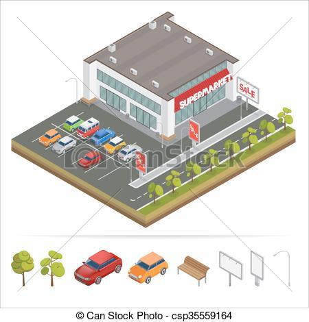 Mall clipart city building Of Vector Car Car City