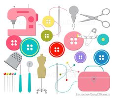 Mall clipart cute Cute sewing pins Watercolor clipart
