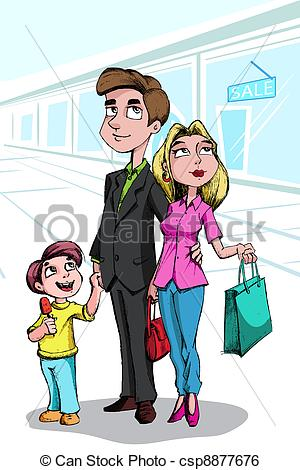 Mall clipart family Shopping  Art csp8877676 of
