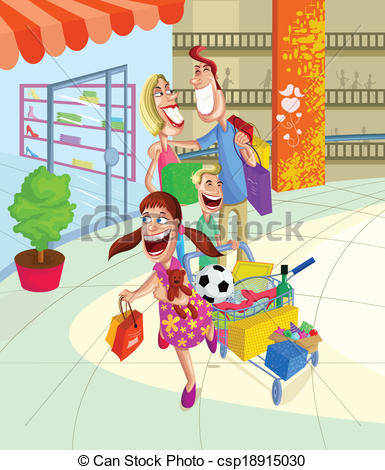Mall clipart family Shopping of Happy super family