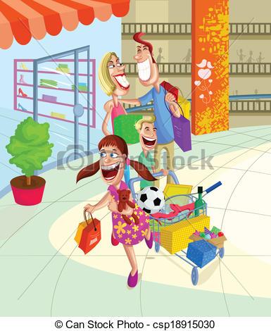 Mall clipart family Shopping of csp18915030 family Vectors
