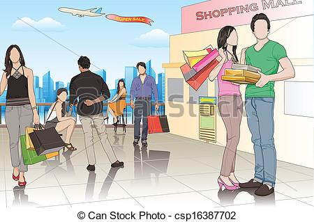 Mall clipart person Csp16387702 of Mall Vector Shopping