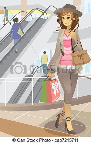 Mall clipart shoppin Csp7215711 woman vector a Art