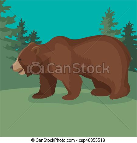 Larger clipart brown bear Vector  stands close up