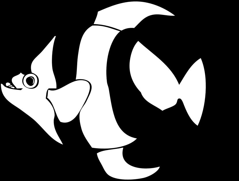 Angelfish clipart black and white Clipart 4 white black fish
