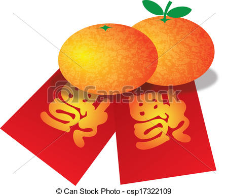 Mandarin clipart Red Illustration Year New Chinese