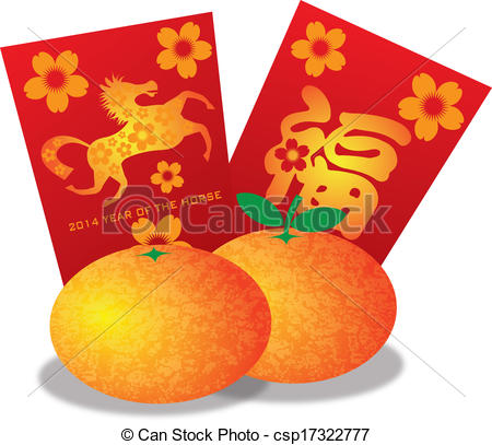 Mandarin clipart chinese new year decoration Year and Year Chinese Horse
