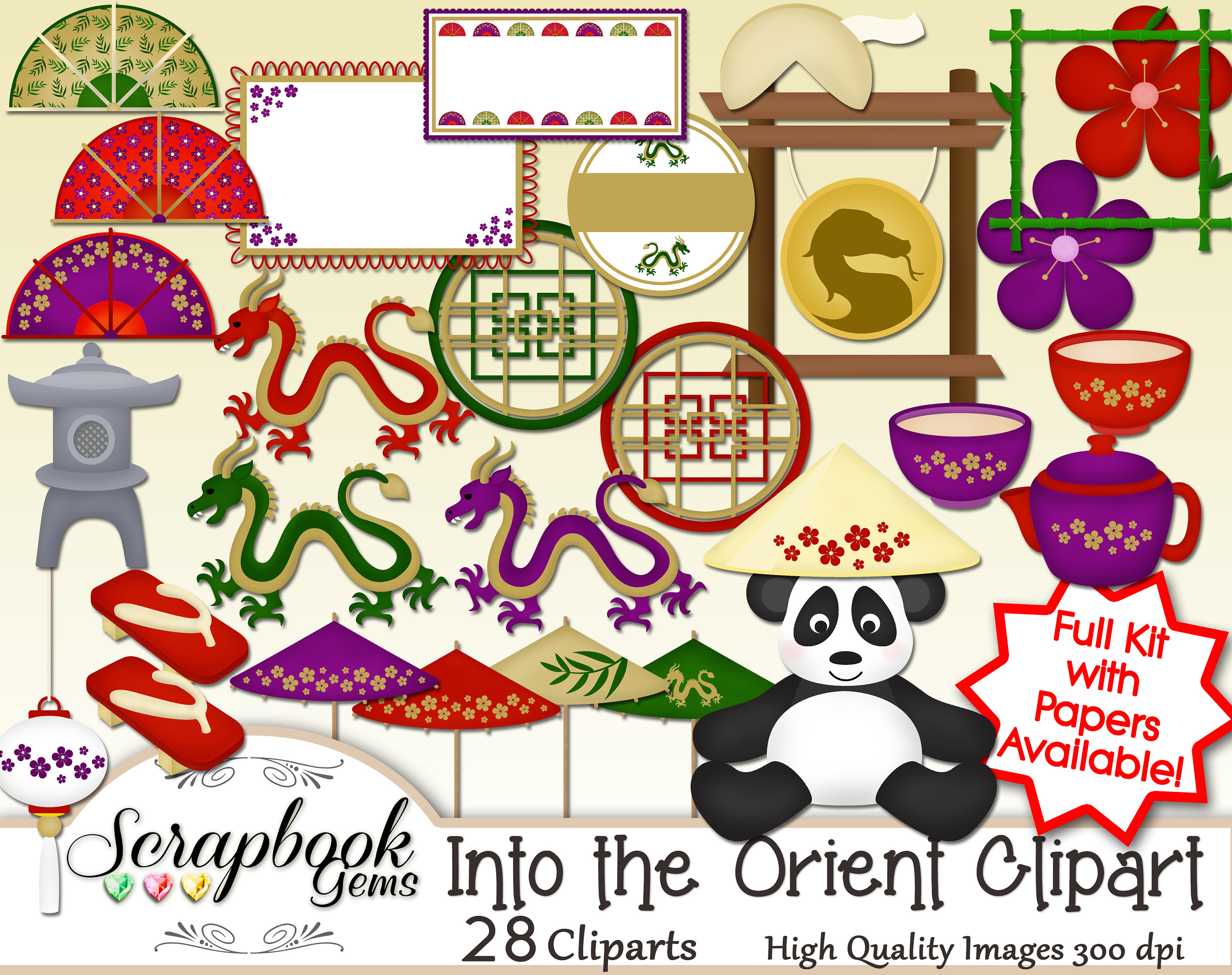 Mandarin clipart chinese new year decoration 28 digital  THE INTO