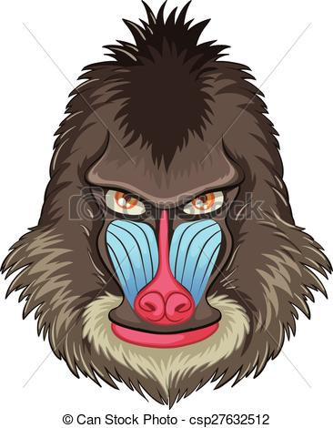 Baboon clipart mandrill Art  a Illustration mandrill
