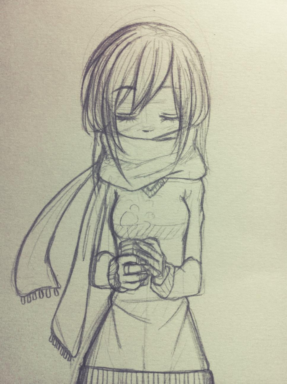 Drawn scarf anime  like so a wearing