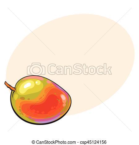 Mango clipart sweet Clipart unpeeled uncut horizontal uncut
