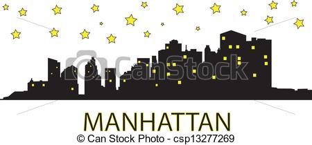 Manhattan clipart  night at Manhattan of