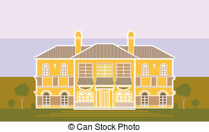 Mansion clipart Front yard Vector Front
