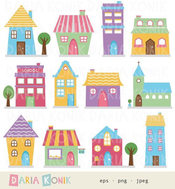 Mansion clipart colorful Art Clip Houses houses Set