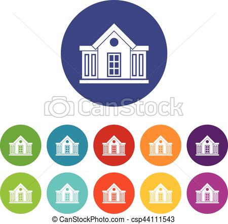 Mansion clipart colorful Icons set Mansion different in