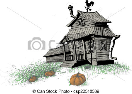 Old House clipart sketch Halloween old house of color
