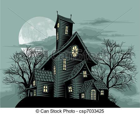 Drawn haunted house haus Csp7033425 Creepy house house illustration