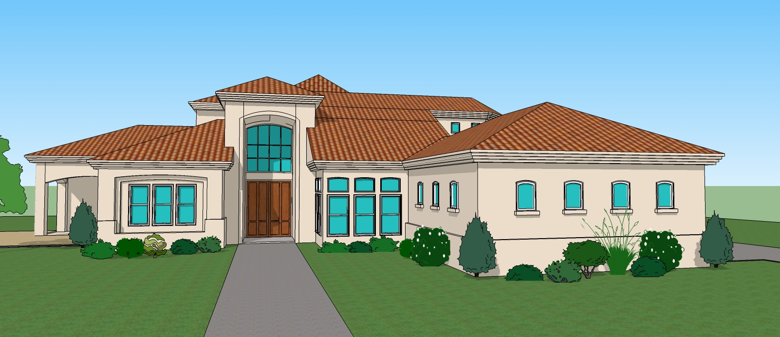 Mansion clipart simple house front Architectural House Rendering 3 Renderer