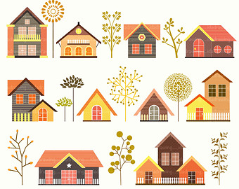 Hosue clipart cute Cute Village Tree clipart Trees