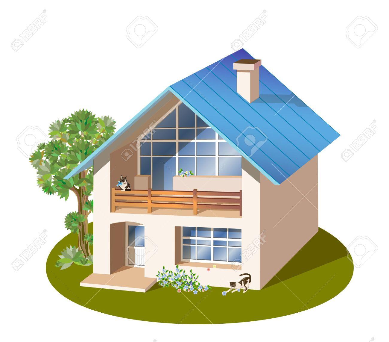 Cottage clipart home and family House Vila house family vila