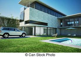 Mansion clipart villa  pool 3D of Mansion