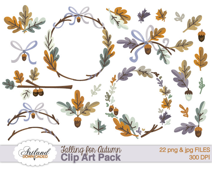 Acorn clipart border Autumn Frame leaf Thanksgiving Instant