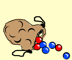 Marbles clipart red Blue of A sitting bag