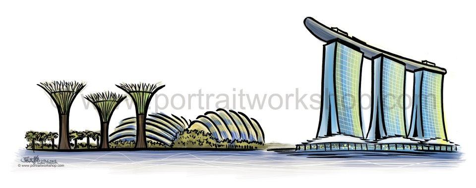 Marina Bay Sands clipart Bay illustrations Gardens Gardens landmarks