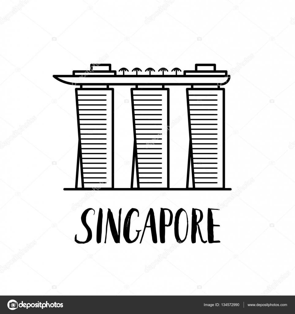 Marina Bay Sands clipart Lettering bay Sands with landmark