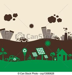 Marina clipart polluted city Illustrations city pollution Vector stock