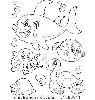 Black & White clipart sea life Khafre #1096911 sea Illustration Life