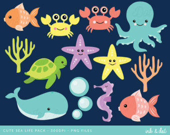 Seafood clipart marine animal Clipart Fish Clipart Whale Sea