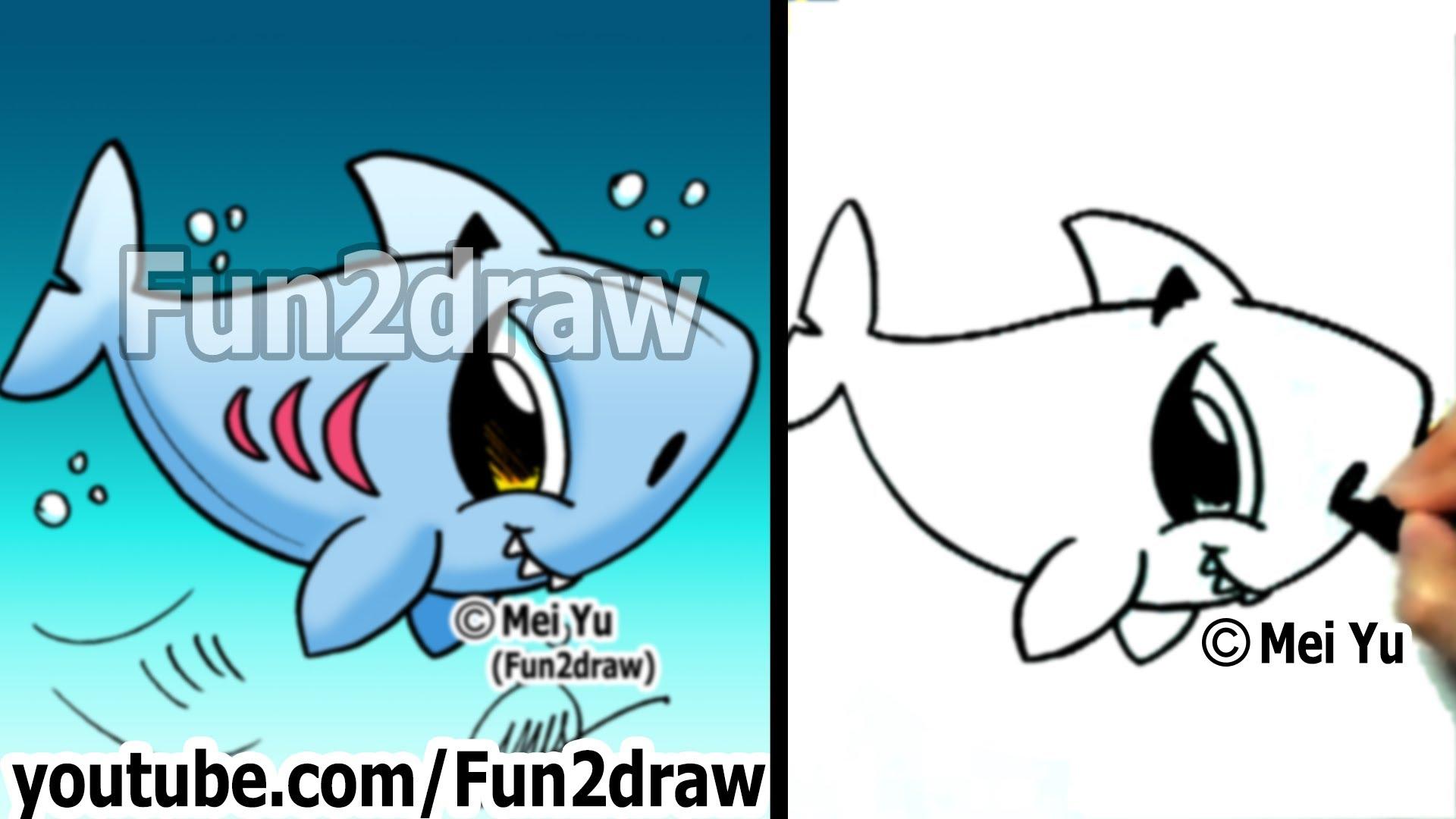 Drawn sea life shark How How Draw Fun2draw Animals