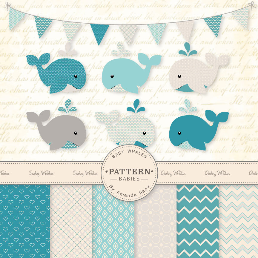 The Sea clipart baby shower whale Whale art Whale Baby Clipart