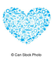 Marine Life clipart blue With 22 Marine on heart