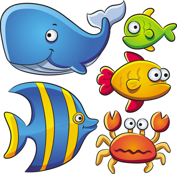 Drawn sea life animated Vectors Design Animals Cartoon Free