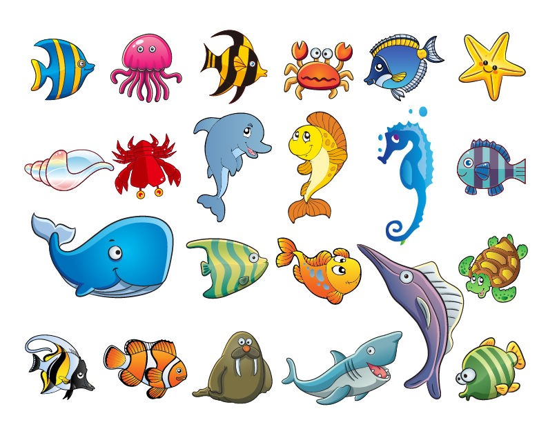 Marine Life clipart cartoon Pin more African Animals Collage