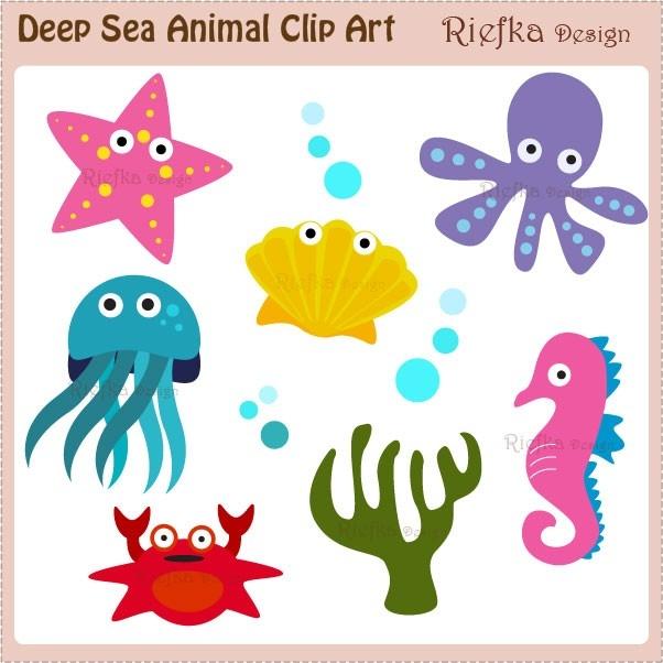 Marine Life clipart deep sea Underwater Animal Clipart Ocean Related