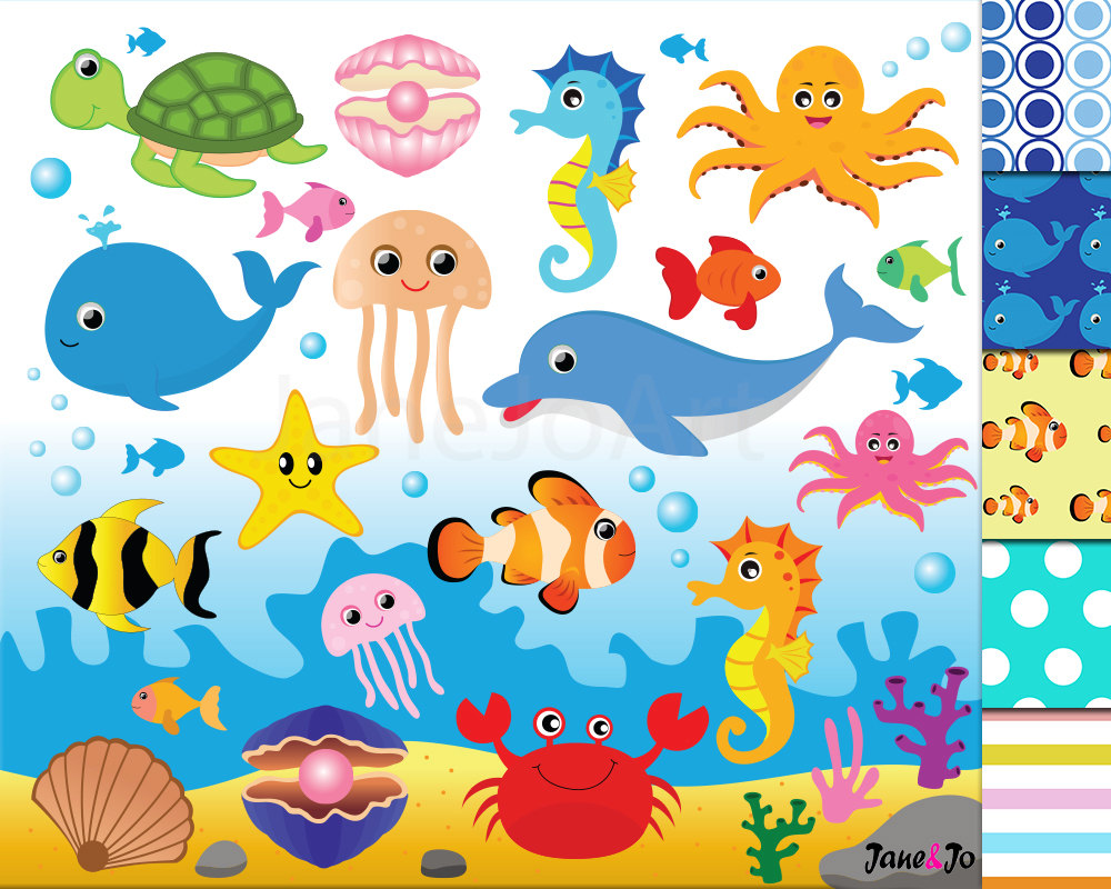 Seafood clipart sea animal Animal Cliparts 50%OFFSALE Sea Clipart