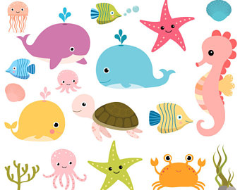 The Sea clipart sea animal Art Seahorse art Under Sea