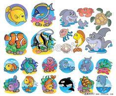 Marine Life clipart sea creature World vector funny sea Illustration
