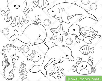 Drawn sea ocean creature Clipart clipart animal Sea Etsy