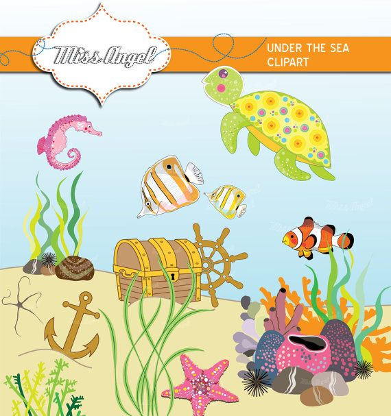 Marine Life clipart sea plant Under chest fish MissAngelClipArt the